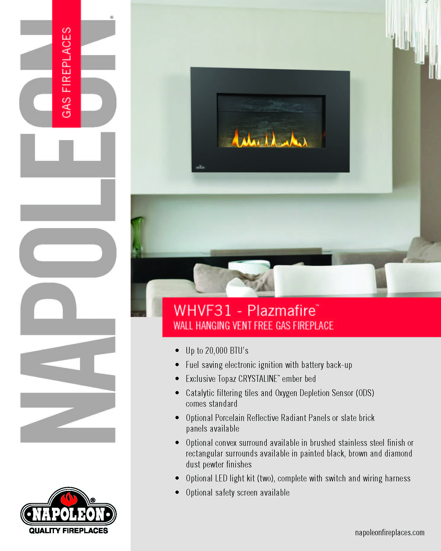 whd31 plazmafire wall hanging direct vent gas fireplace
