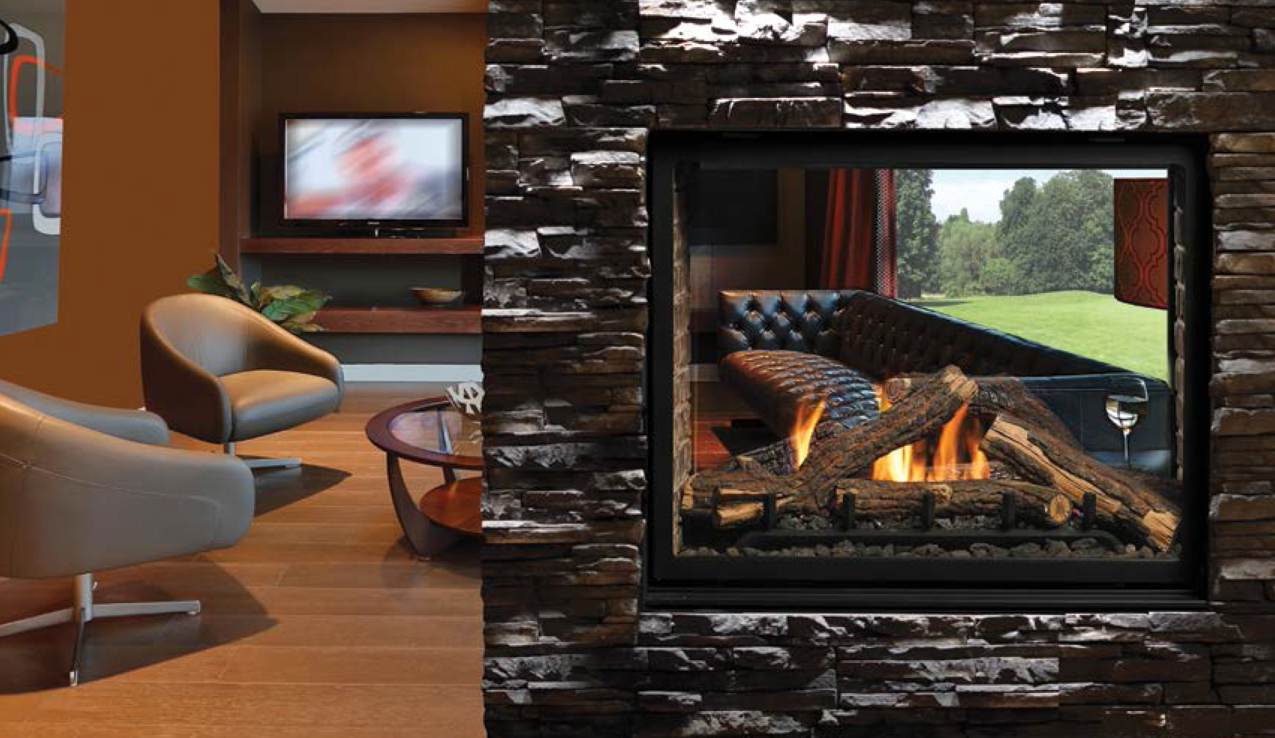 clearance direct vent see through gas fireplace by kingsman fireplaces